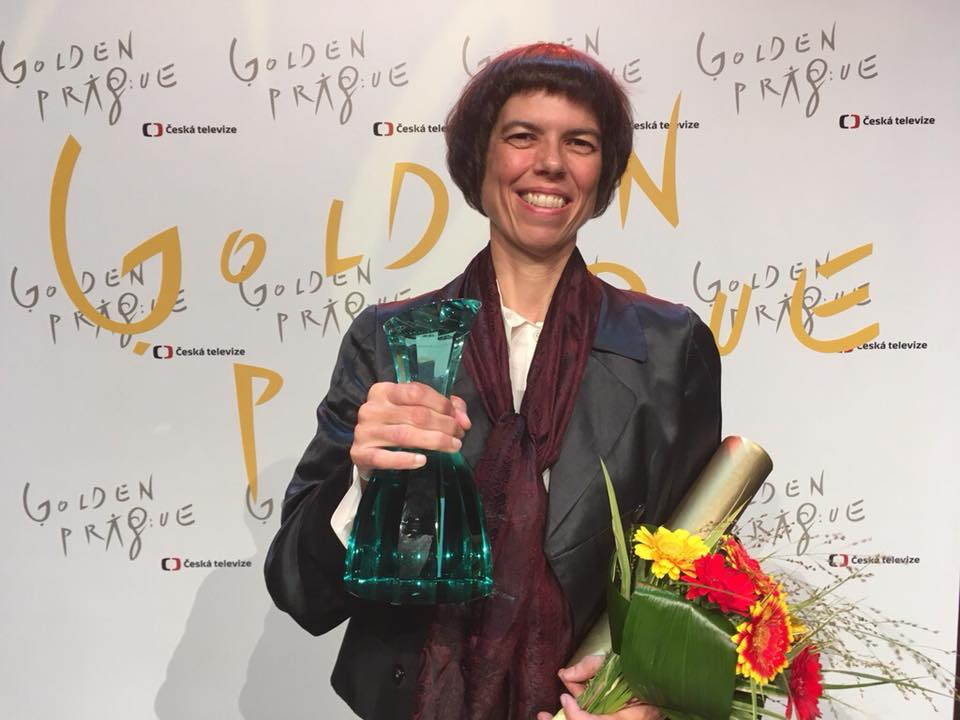 Director Anne-Kathrin Peitz after the prize-winning ceremony at the International Television Festival Golden Prague.